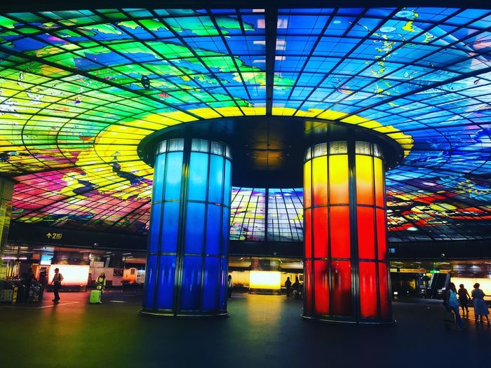 Architecture Built Structure Illuminated Ceiling Multi Colored Incidental People Indoors  Decoration Lighting Equipment