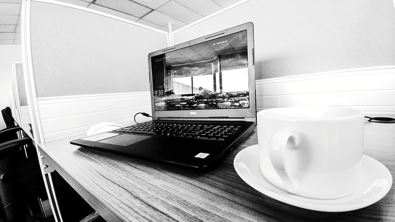 TGIF Coffee Time Laptop Dell Dell Laptop Working Friday Mood Coffee Cup Black & White Lefthanded Modern Workplace Culture