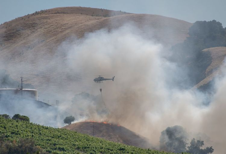brush 🔥 in Livermore Smoke Helicopter Fire Firefighter Vineyard Vineyards  Brush Fire Water Mountain Field Forest Fire Rural Scene Sky
