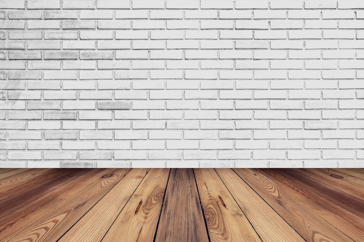 White brick wall room and floor background texture