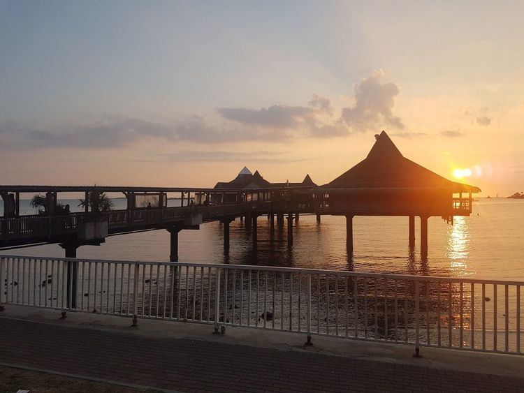 Sea Sunset Horizon Over Water Beach Water Architecture Outdoors Sky Built Structure No People Summer Day City Noumea