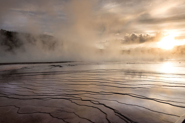 """""""Dusk in the mist"""" Enjoying the last rays of light throught the mist produced by the steam from Grand Prismatic Spring at Yellowstone National Park, Wyoming, USA. http://www.picardo.photography/Portfolio/Landscapes/i-264FvML/A Hot Springs Reflection Steam USA Wyoming Yellowstone National Park Beauty In Nature Dusk Fog Over Water Geyser Grand Prismatic Spring Hot Spring Idyllic Landscape Nature No People Outdoors Scenics Sky Sun Tranquil Scene Tranquility Water Weather"""