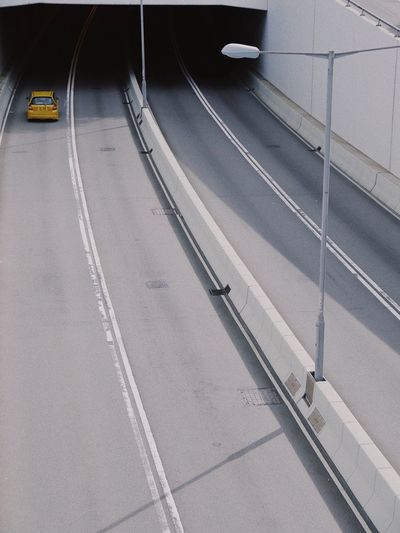 High Angle View Of Car Entering Tunnel