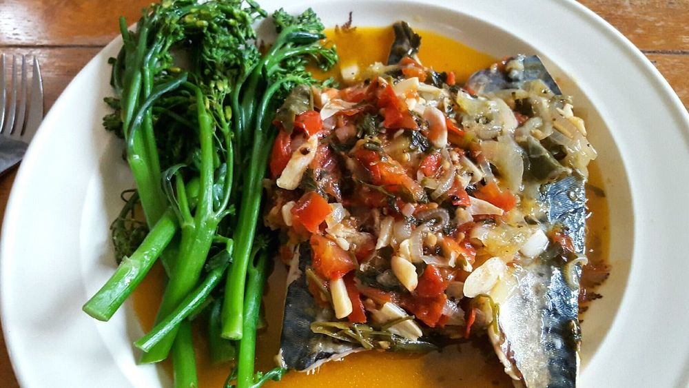 Fish Supper Food Plate Indoors  Healthy Eating Serving Size No People Seafood Close-up Food And Drink Ready-to-eat Fish Broccoli Onions Chillies Mackerel Oily Fish Meal Garlic Tomatoes Food Photography Home Cooking Supper Dinner Fish Supper Fish Dinner