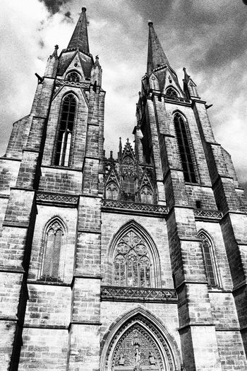 Front of St. Elizabeth's Church, Marburg construction started in 1235 however, the towers were not finished until 1340. Building Exterior Church Gothic Churches In Germany History Low Angle View Marburg An Der Lahn No People Place Of Worship St. Elizabeth's Church, Marburg Teutonic Knights