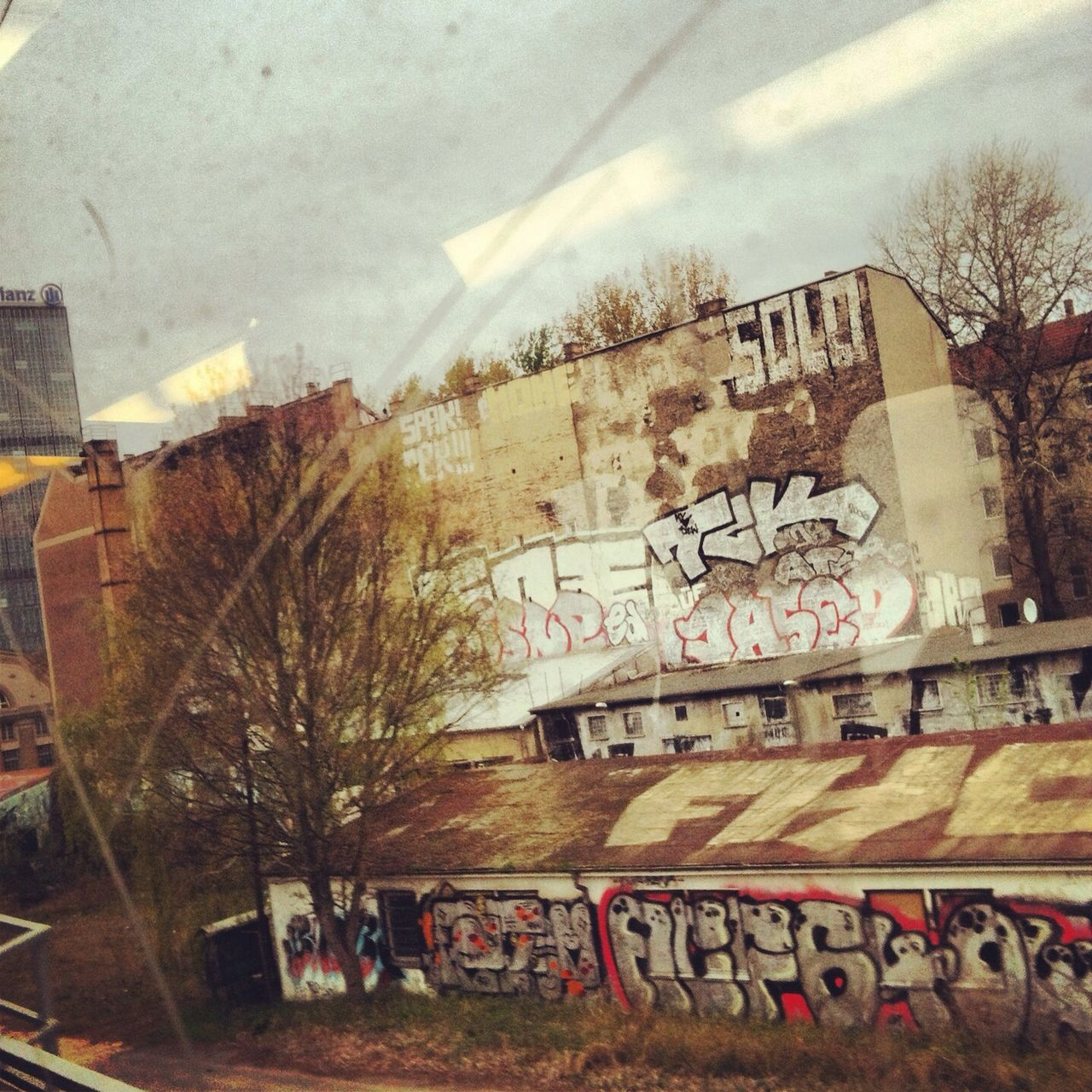 graffiti, text, architecture, communication, built structure, building exterior, day, no people, city, outdoors, tree, sky