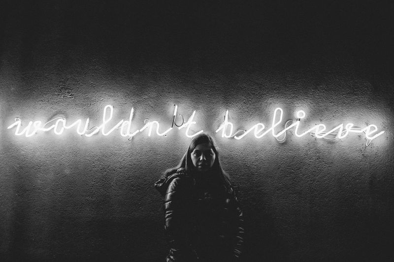 Adult Adult Adults Only Believe Communication Future Girl Girlfrend Illuminated Neon Neon Lights Neon Sign Night One Person People Port Portrait Portrait Of A Woman Uniqueness Unni Vision Woman Portrait Women Would Wouldn't Believe Women Around The World The Photojournalist - 2017 EyeEm Awards The Portraitist - 2017 EyeEm Awards