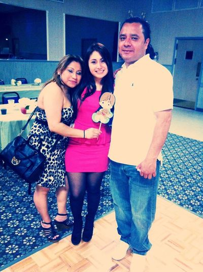 Last night ! Momma & Stepdad(: My mom eyes are closed