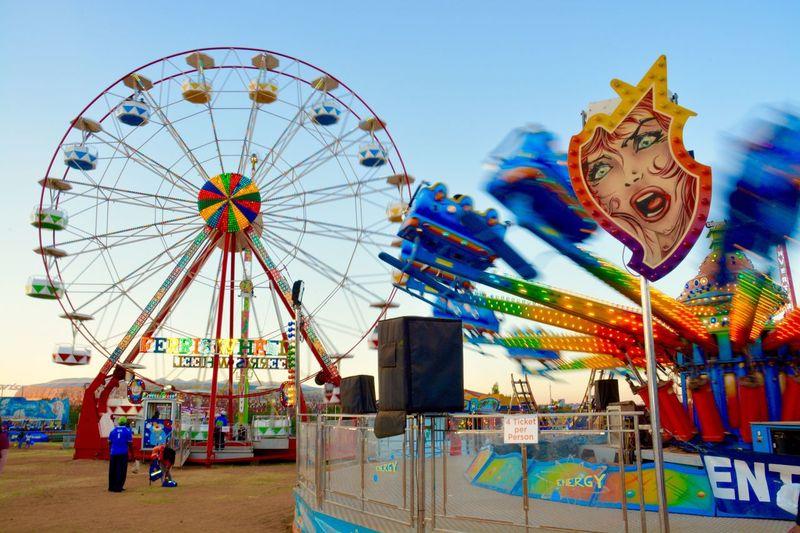 Live For The Story Amusement Park Ferris Wheel Clear Sky Carousel Summer Nostaligia