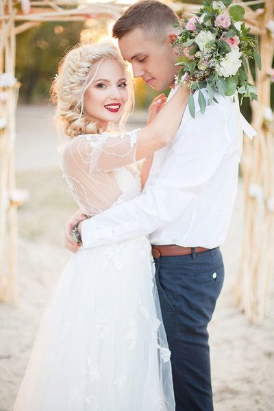 Bride Wedding Wedding Dress Two People Love Life Events Celebration Happiness Embracing Bouquet Flower Togetherness Standing Adult Outdoors Young Women Women Affectionate Romance Holding