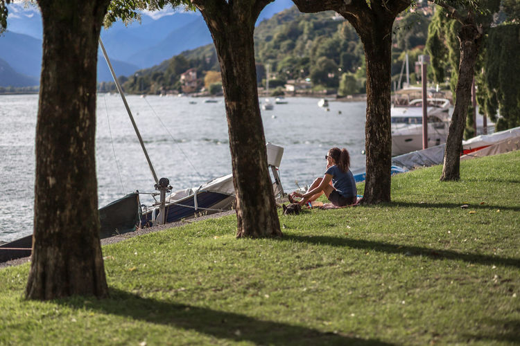 Evening in Verbania, August 2018 Italien Italia Italy Lago Maggiore Lake Lake View Swans Nautical Vessel Cloudy Isola San Giovanni Pier Alps Weisshorn Nature Day