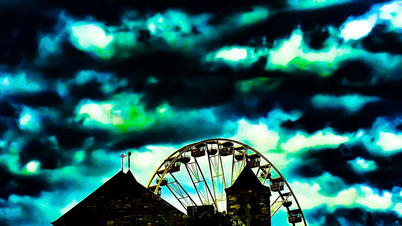 low angle view, amusement park, sky, no people, cloud - sky, arts culture and entertainment, outdoors, ferris wheel, built structure, architecture, day, nature