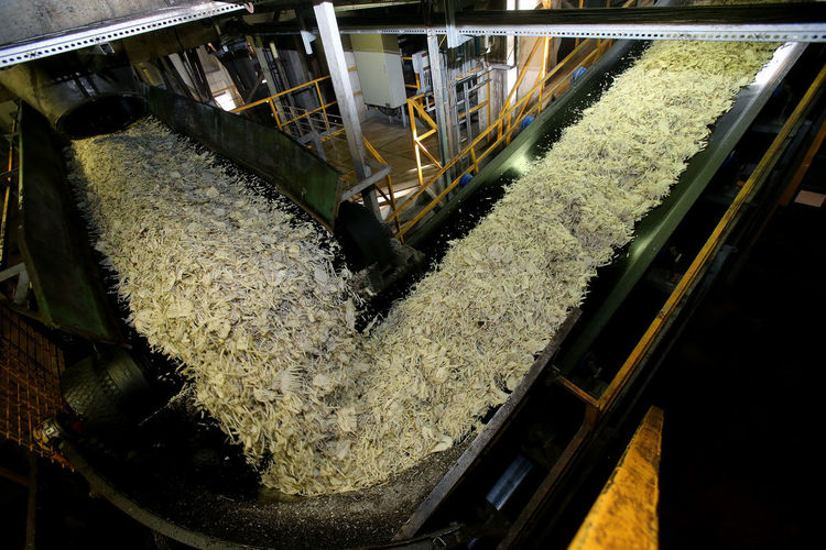 High angle view of machinery at factory