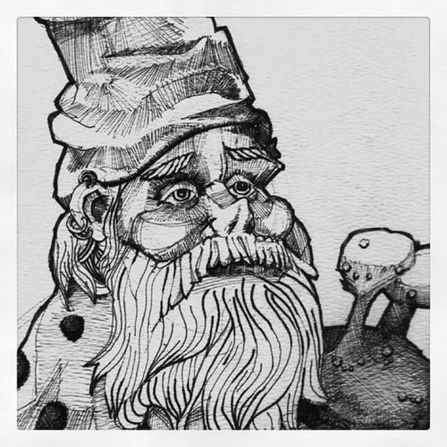 Gnome sitting on snail. Quickdrawing Quicksketch Ink Felttippen gnome gestural