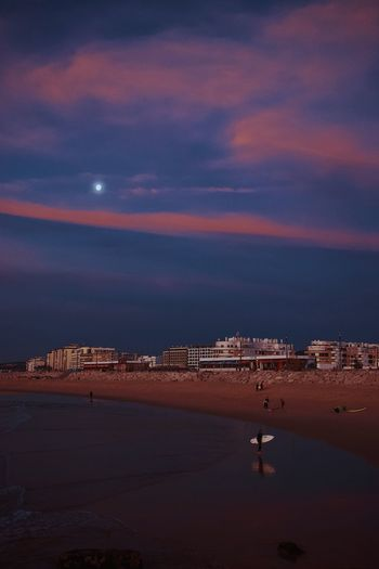 Beach Portugal EyeEm Best Shots Sky Land Scenics - Nature Beach Sea Beauty In Nature Water Night Nature Building Exterior Tranquility City Tranquil Scene Cloud - Sky Outdoors