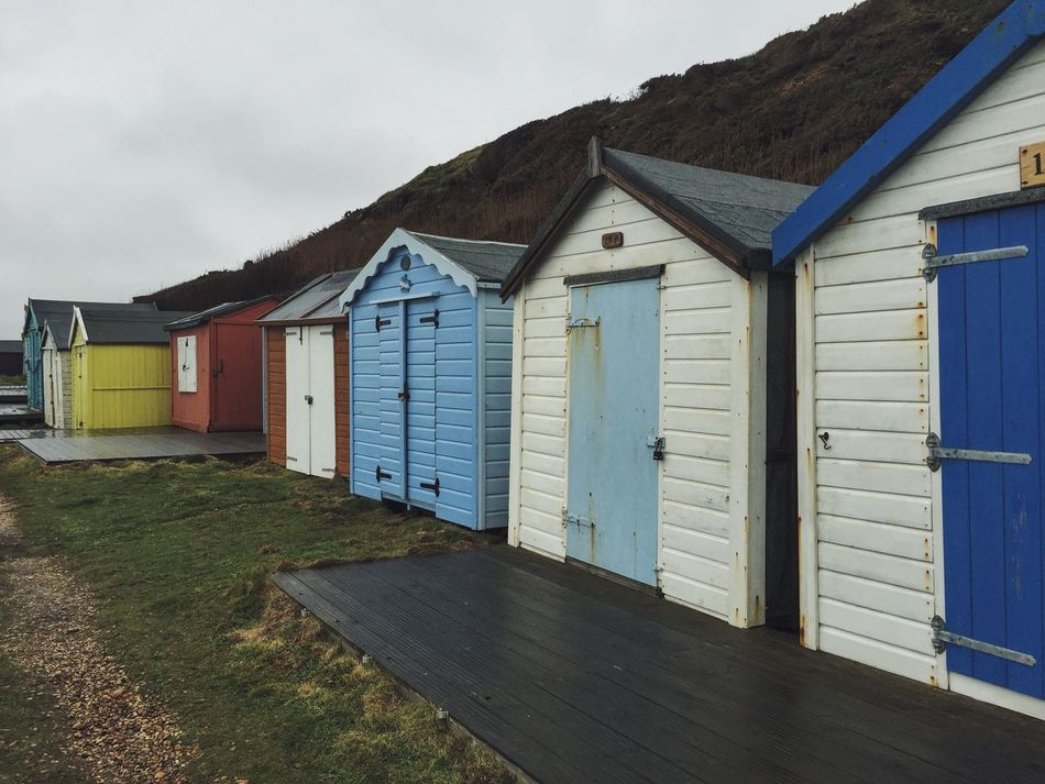 Beach Beach Huts Shed Seaside Coast Paint Overcast