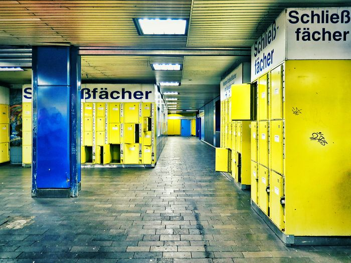 Blue And Yellow Lockers Notes From The Underground Public Space in Bonn