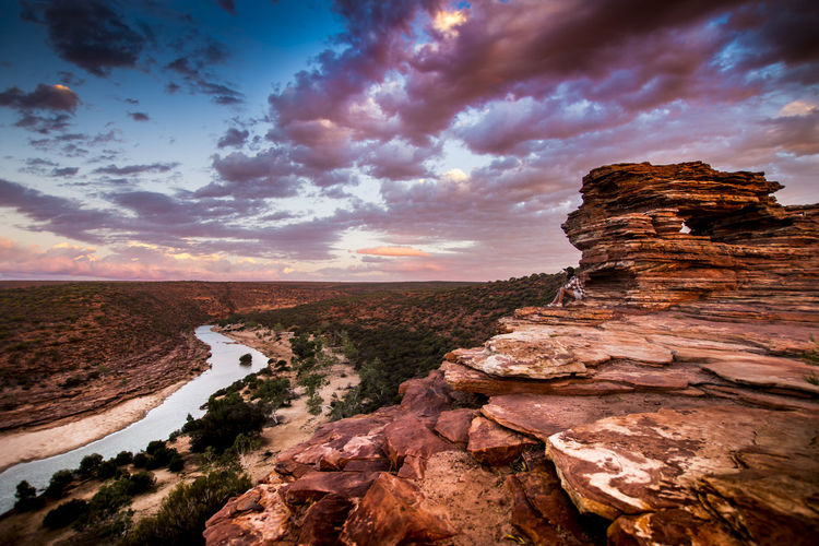 Scenic View Of Nature Window At Kalbarri National Park Against Cloudy Sky During Sunset