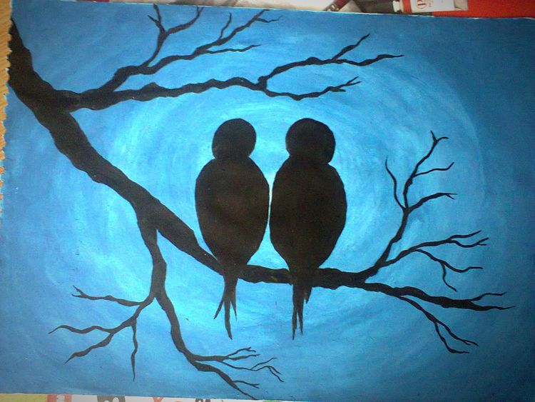 Hello World Birds Drawing EyeEm Nature Lover Art By Me Clouds And Sky Blue Tree Tree And Sky Art, Drawing, Creativity