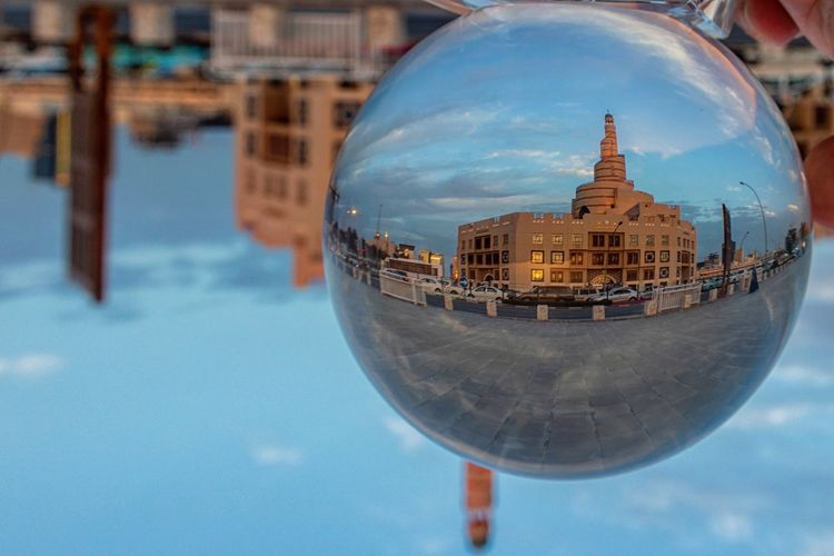 World through the ball Architecture Building Exterior Built Structure Sphere City Building Nature Reflection Travel Destinations Sky Day Travel Tourism Office Building Exterior The Creative - 2019 EyeEm Awards