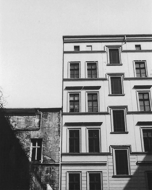Architecture Built Structure Building Exterior Window Low Angle View Clear Sky Residential Structure Sky Day Outdoors High Section Exterior No People Architectural Feature Berlin Backyard Schwedterstrasse Unedited Unedited Photo Long Blackandwhite Black And White Black & White