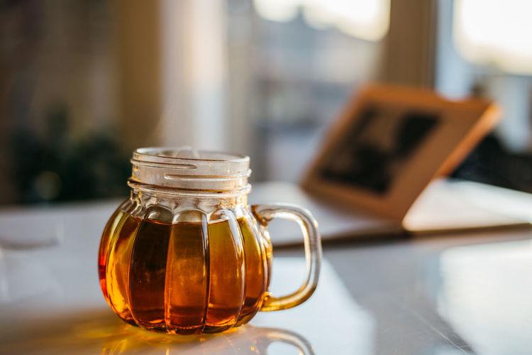 Tea and sunlight Home Homemade Hot Liquid Natura Tea Winter Background Bevarage Brekfast  Close Up Cup Drink Drinking Food Healthy Herbal Leaf Vein Mug Organic Pumpkin Mug Sunset Tea Cup Tea Time Warm