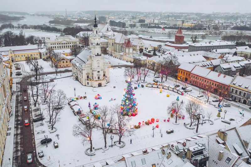 Drone aerial view of kaunas christmas tree and market