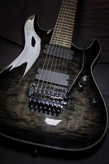 7 strings guitar with floyd rose 7 Strings 7 Wonders Of The World Active Pickups Active Pool Close-up Electric Guitar Floyd Rose Fretboard Guitar Humburg Indoors  Metal Musci Music Musical Instrument Musical Instrument String No People Pickups Rock Music