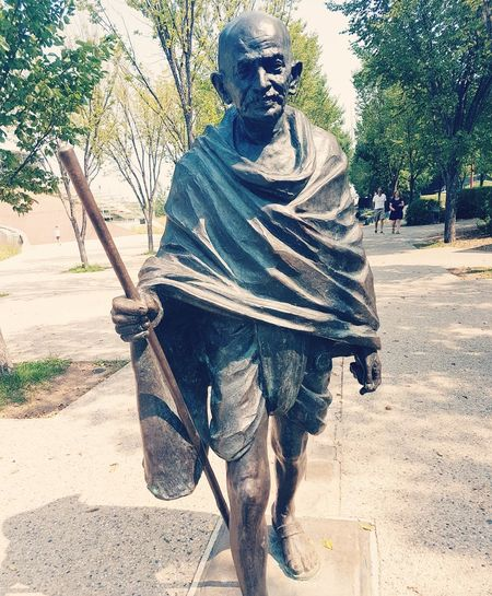 """The enemy is fear. We think it is hate; But, it is fear."" °° Gandhi ... Quotes Love Theforks Manitoba Canada Winnipeg Photography Statue"