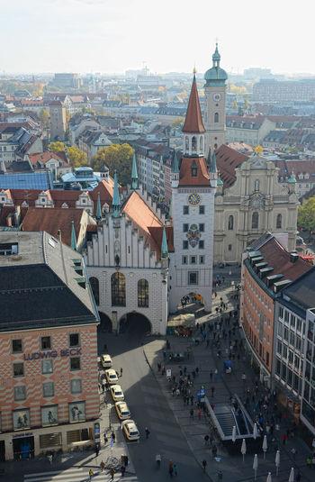 High angle view of heiliggeistkirche church at marienplatz in city