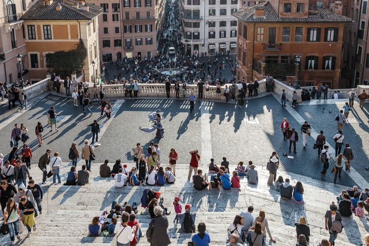 High angle view of people at spanish steps
