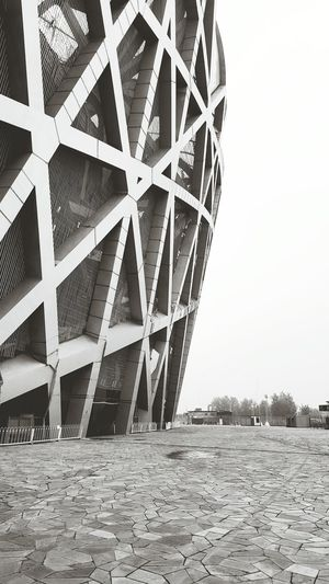 """Bird's Nest"" at Beijing Olympic Stadium EyeEm Best Shots - Black + White Blackandwhite Eyemblackandwhite Black And White Capture The Moment Mobilephotography Samsung Galaxy S6 Edge+ Samsungphotography. China Beijing, China Eye4black&white  Architecture_bw Seeing The Sights"