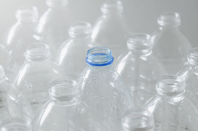 Close-up of glass bottle against blurred background
