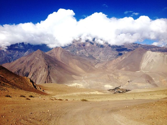 Scenic view of landscape and mountains at himalayas