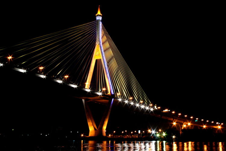 Architecture Bridge - Man Made Structure Building Exterior Built Structure City Clear Sky Connection Engineering Illuminated Low Angle View Night No People Outdoors Sky Suspension Bridge Transportation Travel Destinations