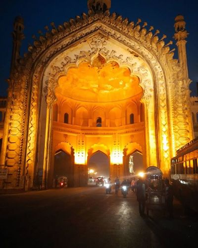 Rumi Darwaza Night Lucknow Baraimambara Up Yellow Lights Travel History Roadtrip Monument HASHTAG