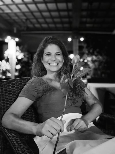 The lady and the rose B&W Portrait Blackandwhite #B&W My Best Photo #feelings Lady Young Women Portrait Smiling Cheerful Happiness Celebration Looking At Camera Women
