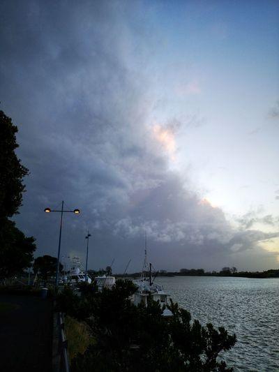 Winter evening in Whakatane. Water Tree Sky Cloud - Sky Sunset Shore Calm Horizon Over Water Dramatic Sky Boat Scenics Seascape Atmospheric Mood Tranquil Scene