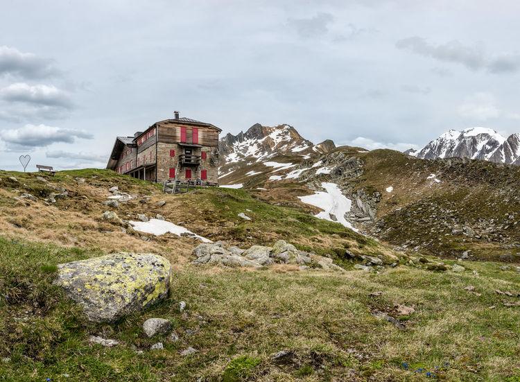 Berge Blüten Gebirge Gräser HDR Himmel Hütte Italien Mitterlinge Panorama Pfitscherjoch Pfitscherjoch Haus Schnee Sommer Steine Südtirol Trentino  Wandern Wolken