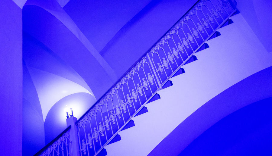 All stairs is yours. Nobody is waiting up and down. Architecture Staircase Built Structure Railing Low Angle View Design Simplicity Blue Nature Building Exterior Bridge Connection Transportation Bridge - Man Made Structure Pattern Outdoors