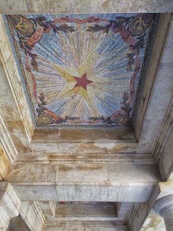 Sowjetisches Ehrenmal (Schönholzer Heide) Architectural Design Architectural Feature Architecture Bad Condition Built Structure Ceiling Day Gothic Style History Indoors  Low Angle View No People Old Red Star Weathered