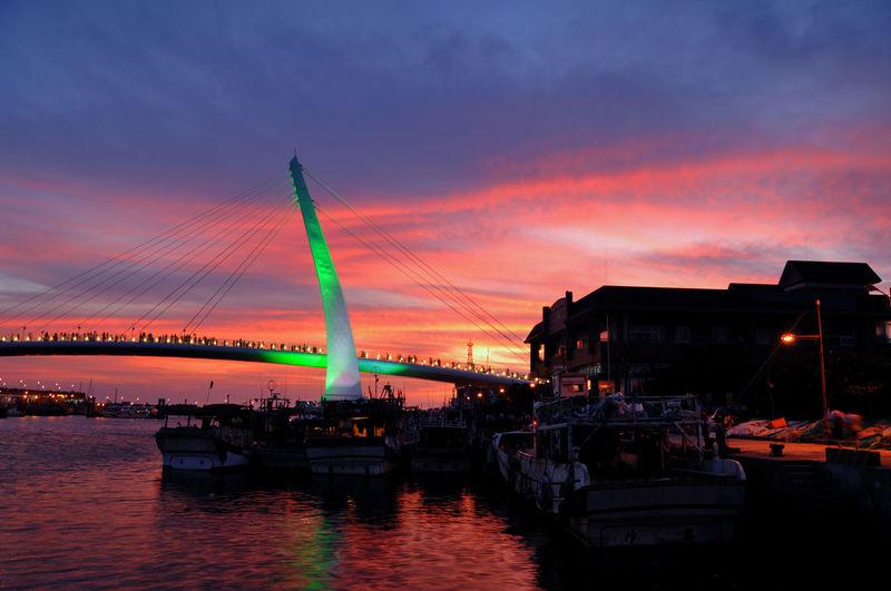 View of illuminated bridge at sunset