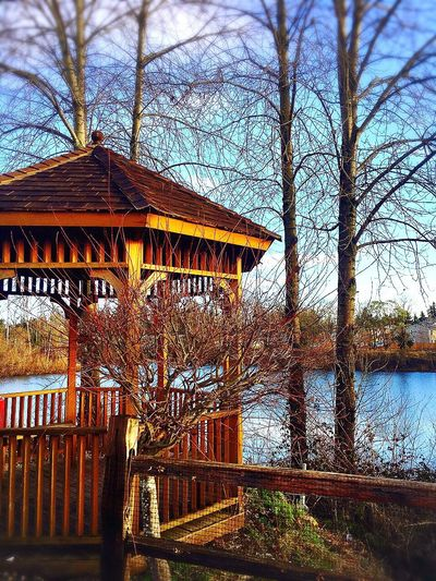 Shot On IPhone 6s gazebo near the water Serene Tranquil Outdoors