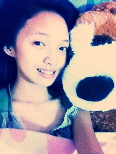Staying in bed all day with my giant stuff toy :)
