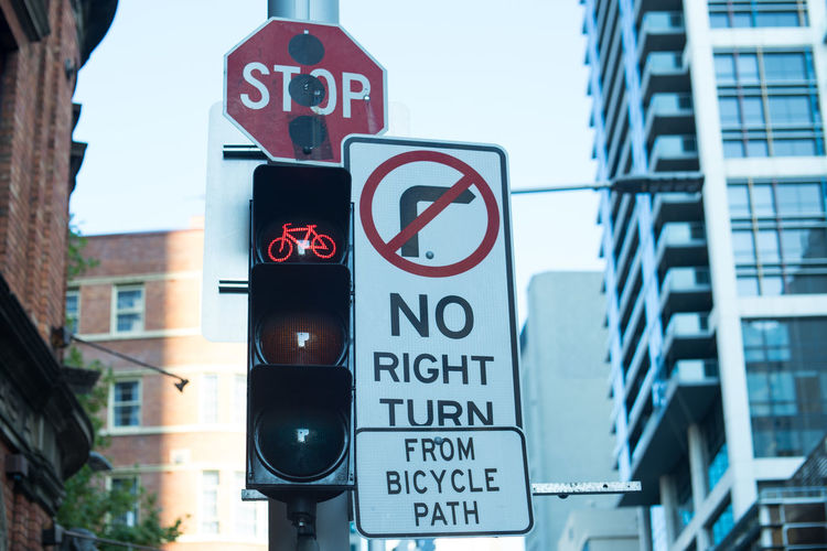 traffic signs of bicycle path, stop, no right turn and red light bike. City Sign Traffic Transportation Bike Bycicle No Right Turn Red Light Sky Stop Sign Streetphotography Symbol