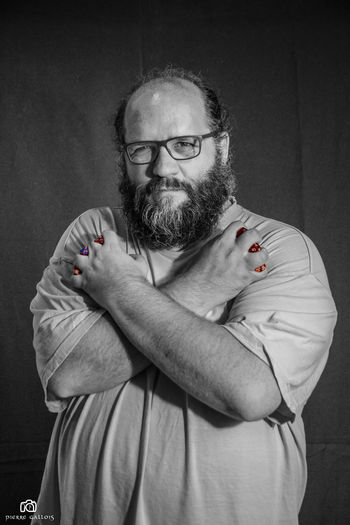 Beard Black Black And White Black And White Photography Black And White Portrait Black And White With A Splash Of Colour Blackandwhite Day Eyeglasses  Human Hand Indoors  Lifestyles Mature Men One Person People Portrait Portrait De Rôliste Portraits Real People Standing Studio Shot