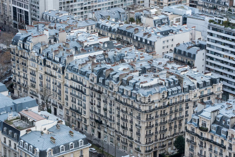 High angle view from eiffel tower of buildings in paris