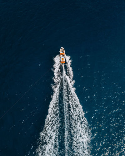 Water Nature Motion High Angle View Day Sport One Person Transportation Sea Speed Nautical Vessel Wake - Water Real People Outdoors Wake Aquatic Sport Travel Wave Pattern