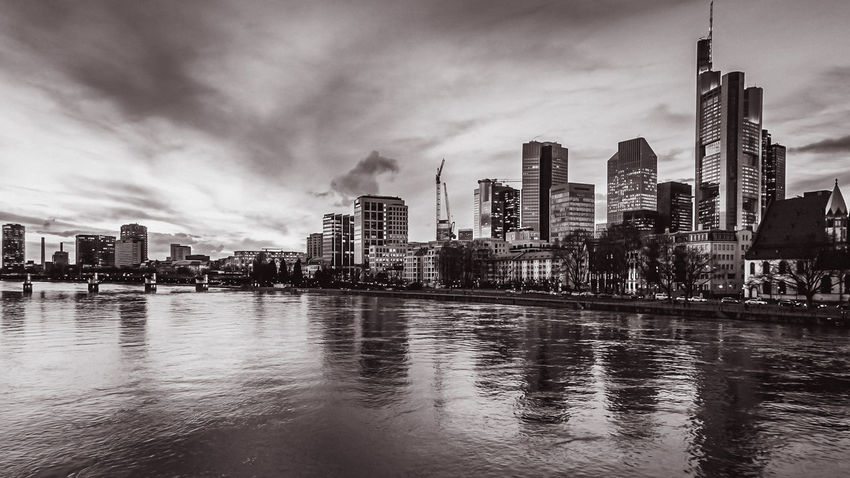 Black and White Skyline of Frankfurt Architecture Blackandwhite Photography Building Exterior Built Structure City City Life Cityscape Cloud - Sky Day Downtown District Financial District  Modern No People Outdoors River Sky Skyline Skyscraper Tall Tall - High Tower Travel Destinations Urban Skyline Water Waterfront EyeEmNewHere EyeEmNewHere