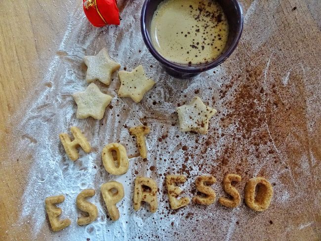 Cocao Letters Expresso  Coffee Still Life Homemade Cookie Preparation  High Angle View Homemade Cinnamon Sweet Food Hot Drink Hot Beverage Espresso Expresso Time Coffee Break Cookies Directly Above Drink Food And Drink Freshness Indoors  No People Food Table Preparation  Healthy Eating Close-up Day